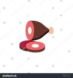 sliced ham leg with bone flat icon vector sign pork gammon colorful pictogram isolated on white symbol logo illustration flat style design [ 1500 x 1600 Pixel ]