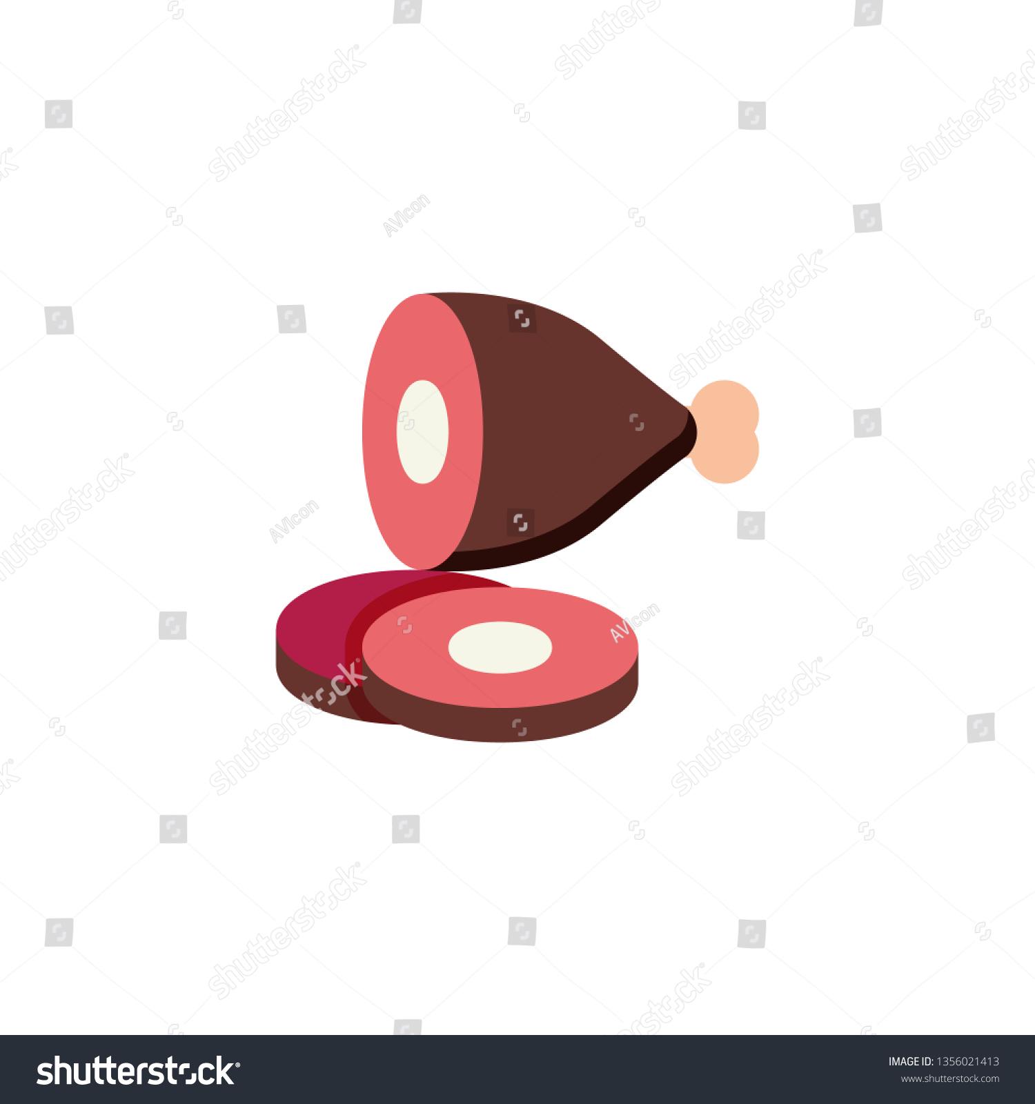hight resolution of sliced ham leg with bone flat icon vector sign pork gammon colorful pictogram isolated on white symbol logo illustration flat style design