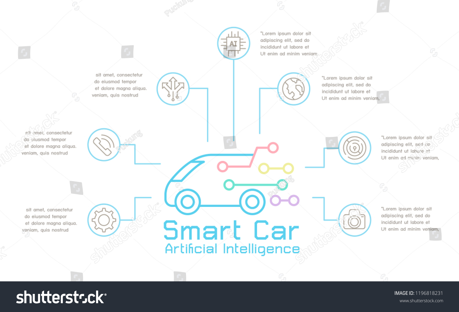 hight resolution of smart car technology concept template infographic vector illustration graphic design