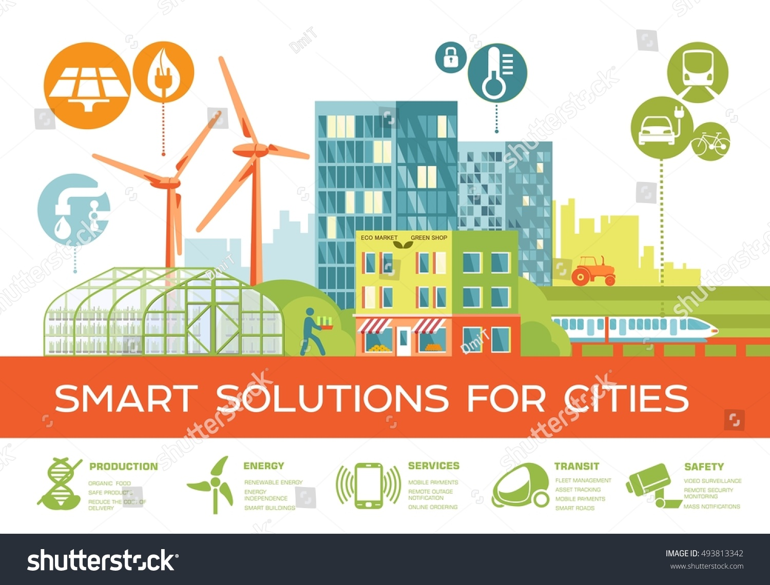 Smart City Vector Illustration Smart Solutions Stock
