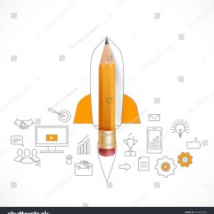 Rocket Ship Diagram Plumbing A Toilet Drain Smart Education Launch Pencil Stock Vector Royalty Free With Sketch On The Blackboard Illustration