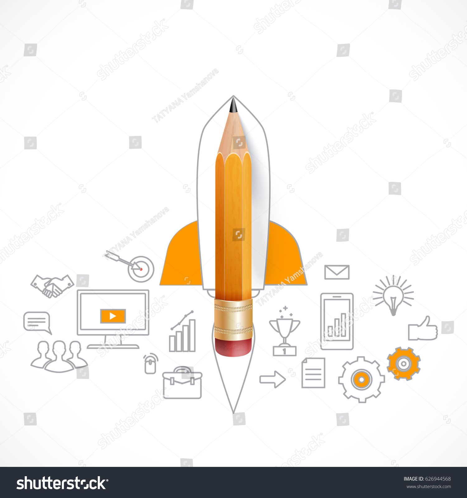 real rocket ship diagram battery isolator switch wiring smart education launch pencil stock vector royalty free with sketch on the blackboard illustration