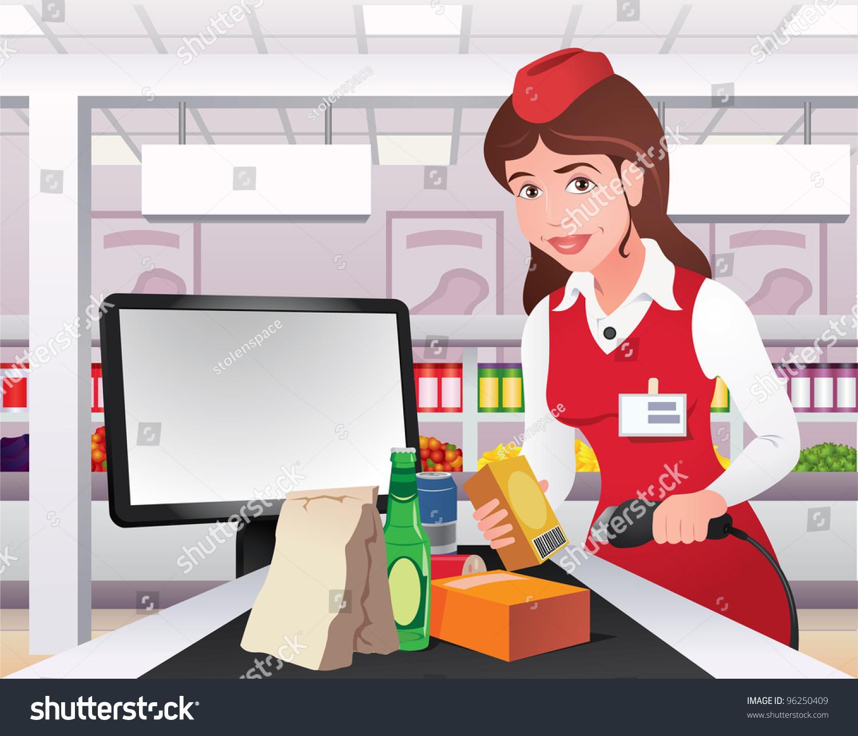 Smiling Cashier Girl Red Uniform Prepares Stock Vector 96250409  Shutterstock