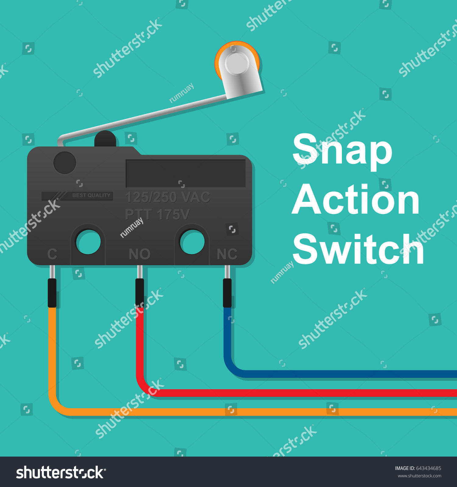 hight resolution of snap action switch wiring stock vector royalty free 643434685 snap action switch wiring a snap action switch wiring