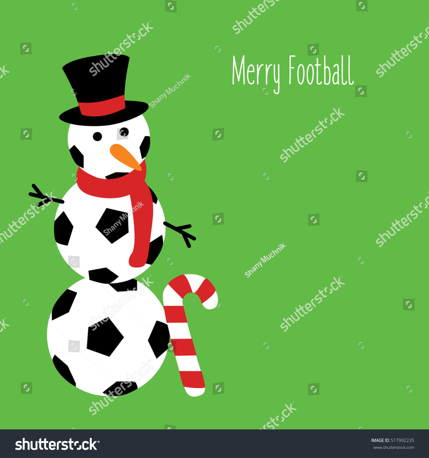 Snowman Football Text Merry Football Illustration Stock