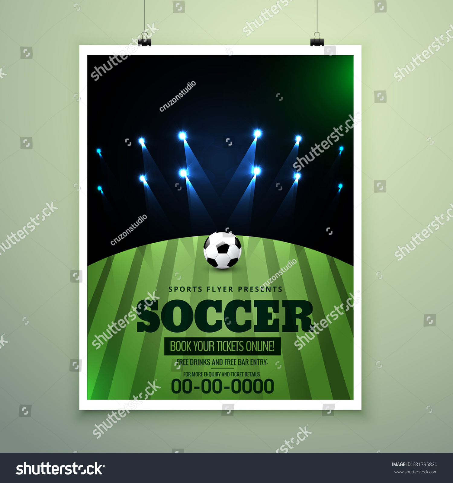 Soccer Event Flyer Template Eps10, Football Brochure, Soccer Magazine Cover.