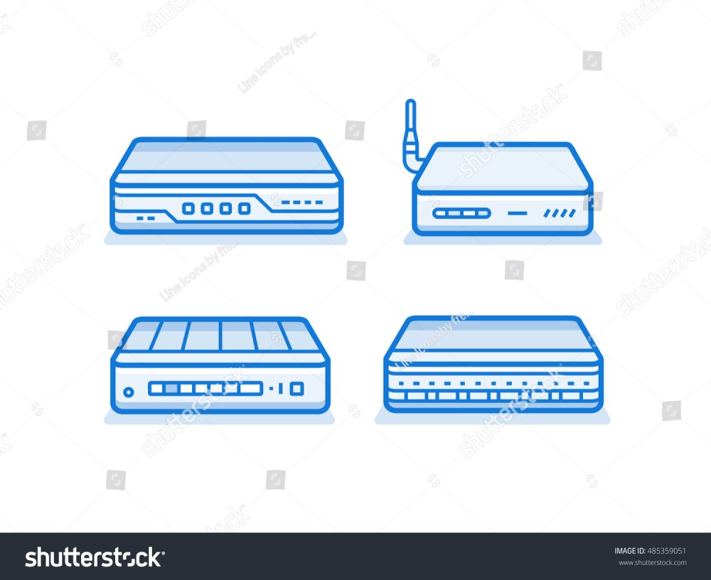 medium resolution of soho network router icon set network equipment for small business data network hardware series