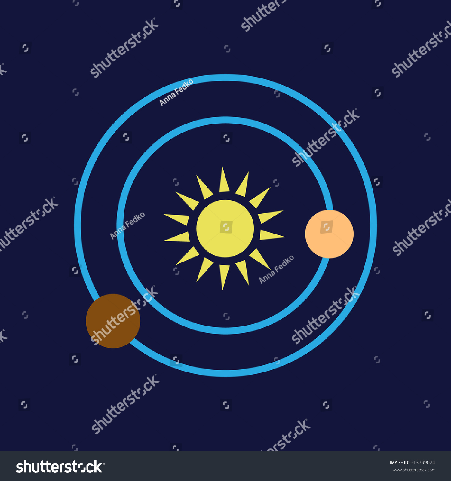 hight resolution of solar system colored vector icon eps10