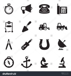 solid black vector icon set stopwatch vector loudspeaker phone wiring trowel [ 1500 x 1600 Pixel ]