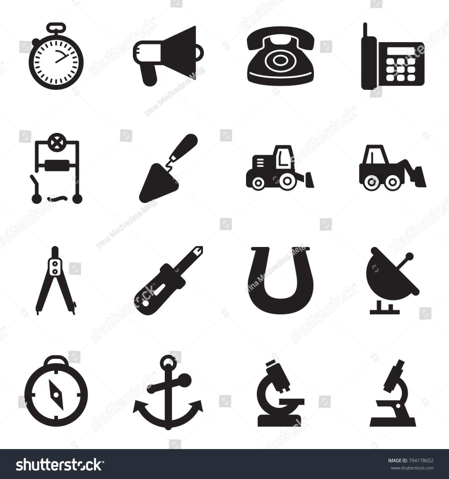 hight resolution of solid black vector icon set stopwatch vector loudspeaker phone wiring trowel