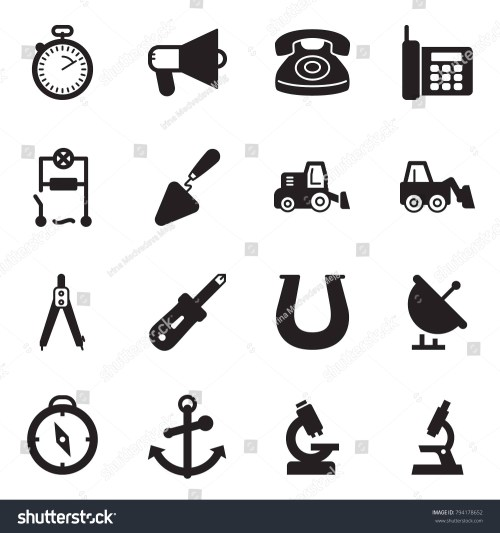 small resolution of solid black vector icon set stopwatch vector loudspeaker phone wiring trowel