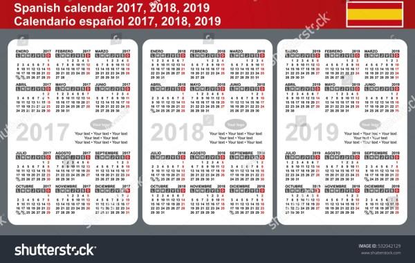 Spanish Calendar 2017 2018 2019 Vector Stock Vector