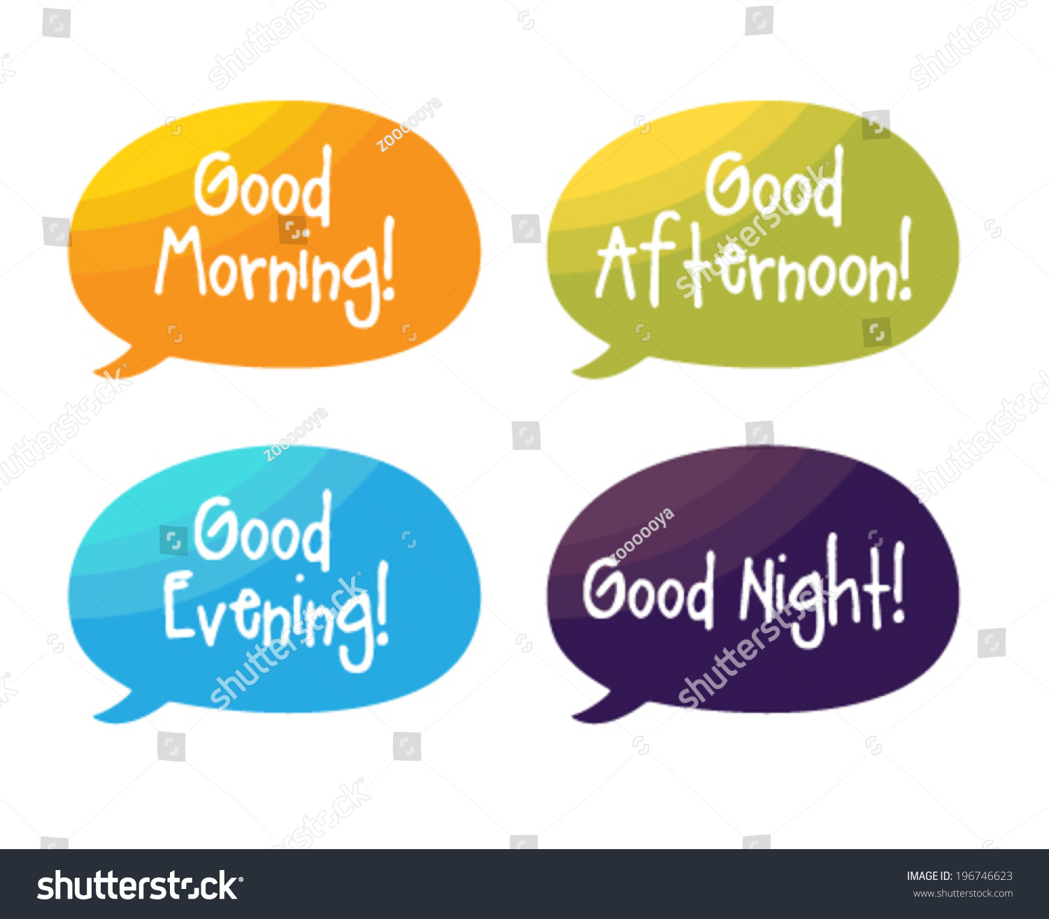Speech Bubbles Good Morning Good Afternoon Stock Vector