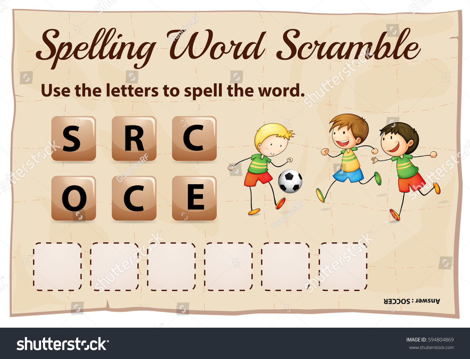 Spelling Word Scramble Game Word Soccer Stock Vector