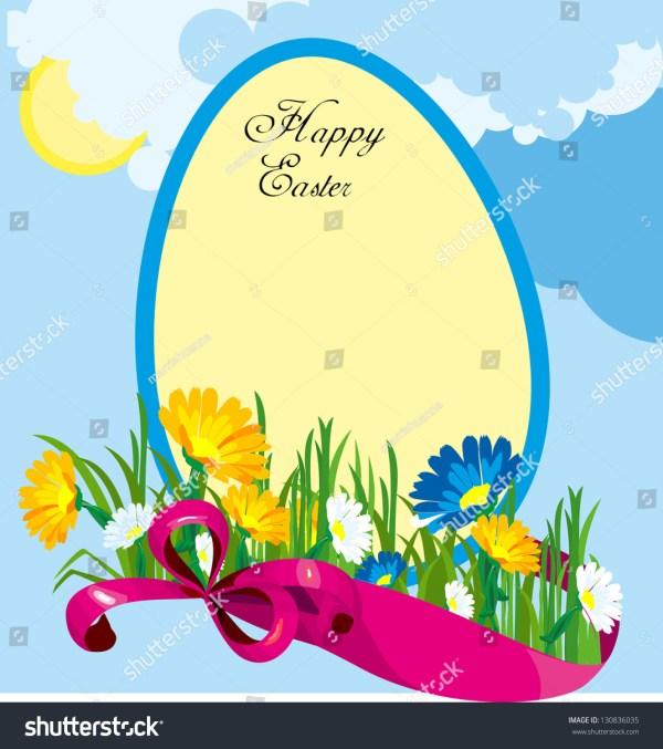 spring landscape egg festive ribbon