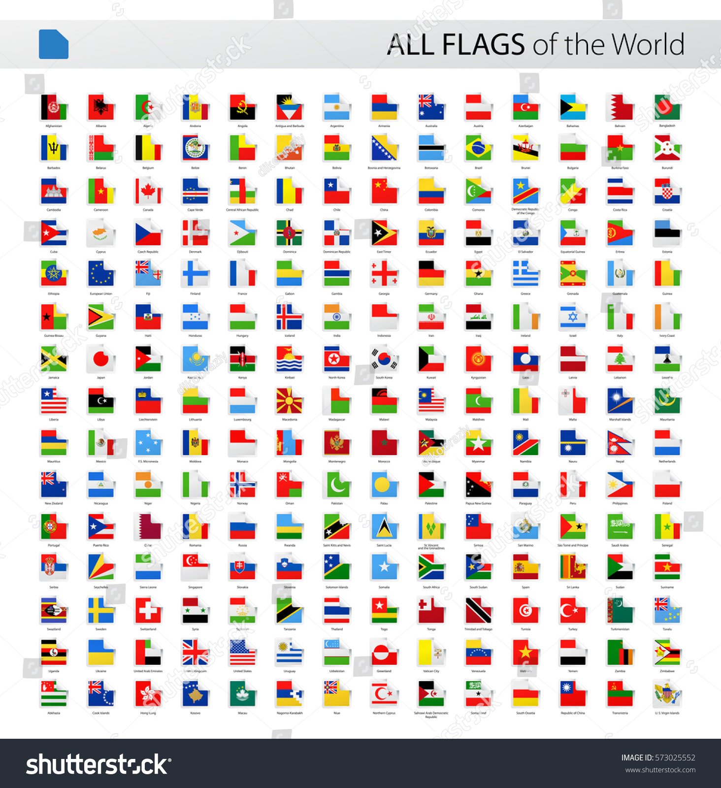 Square Corner World Flags Vector Collection All Stock
