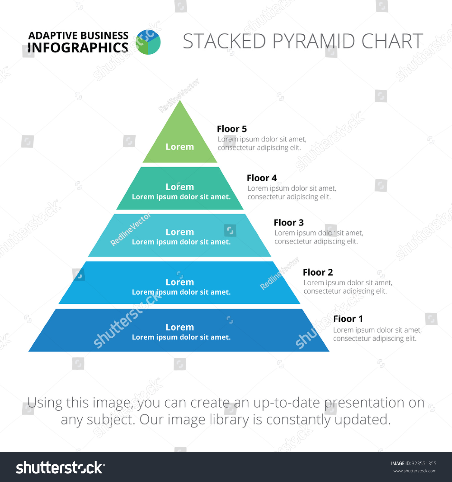 hight resolution of stacked pyramid chart abstract element of chart graph diagram with 5 steps