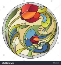 Stainedglass Pattern Ceiling Light Red Flower Stock Vector ...