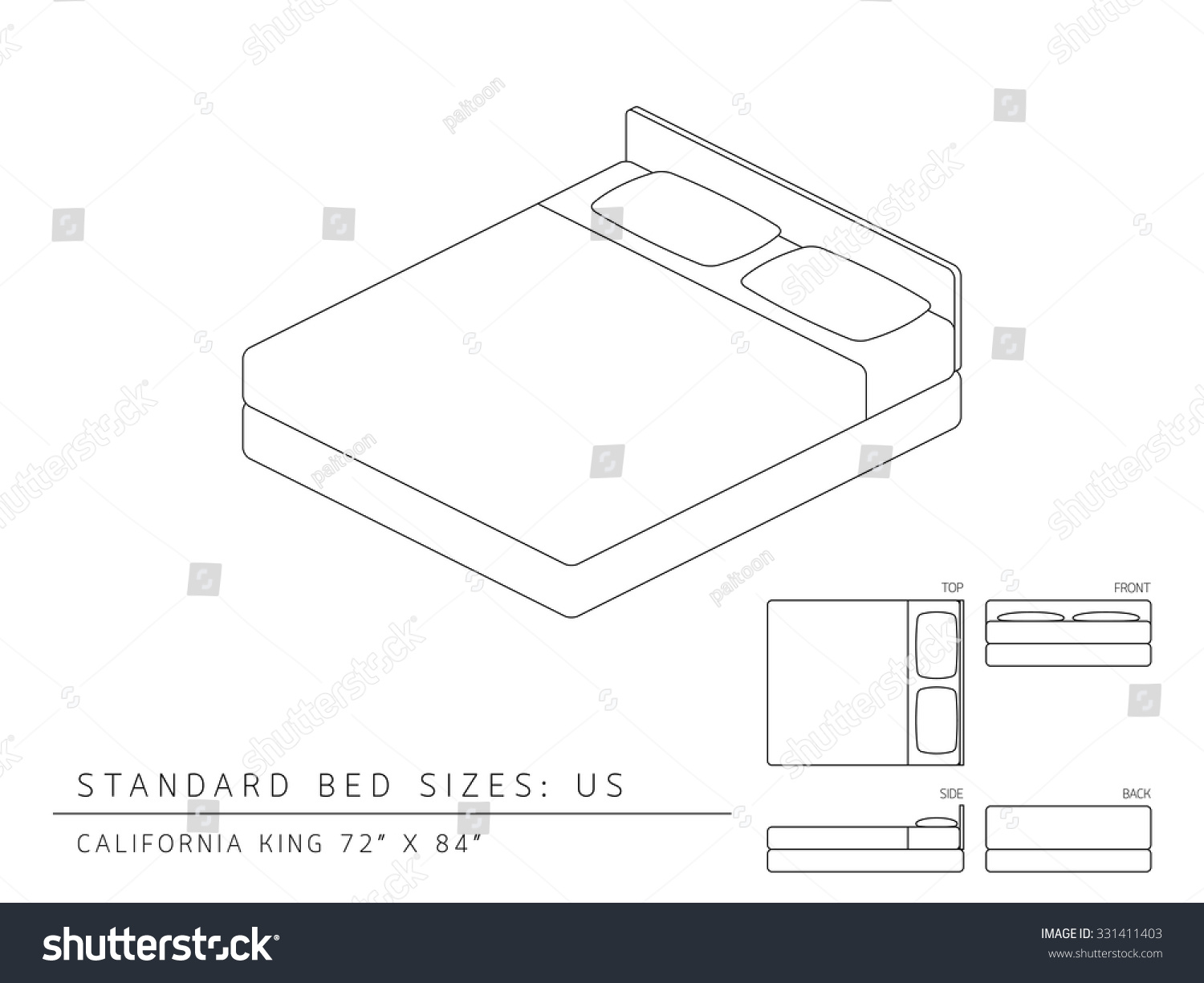 Standard Bed Sizes Of Us United States Of America