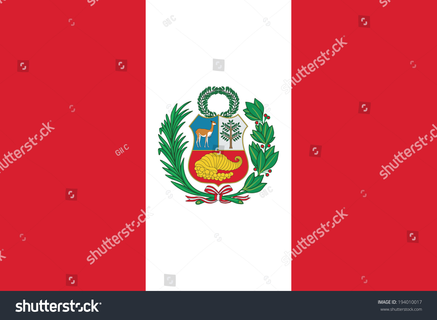 State Flag Of Peru Vector Accurate Dimensions Elements
