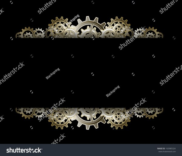 Steampunk Gears Frame Stock Vector Illustration 163985324