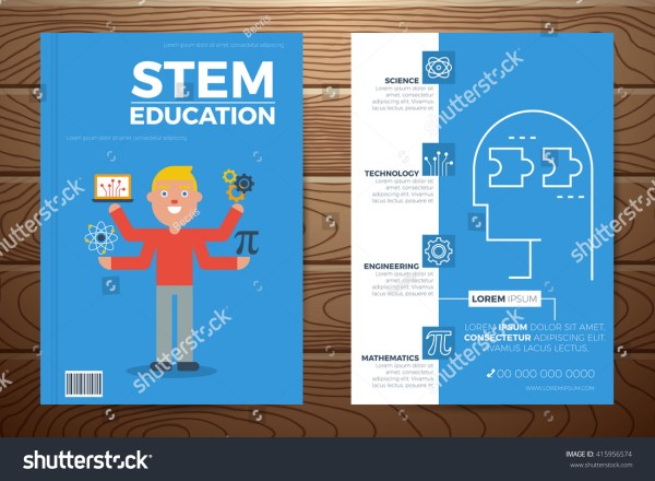 Stem Education Book Cover Flyer A4 Stock Vector 415956574