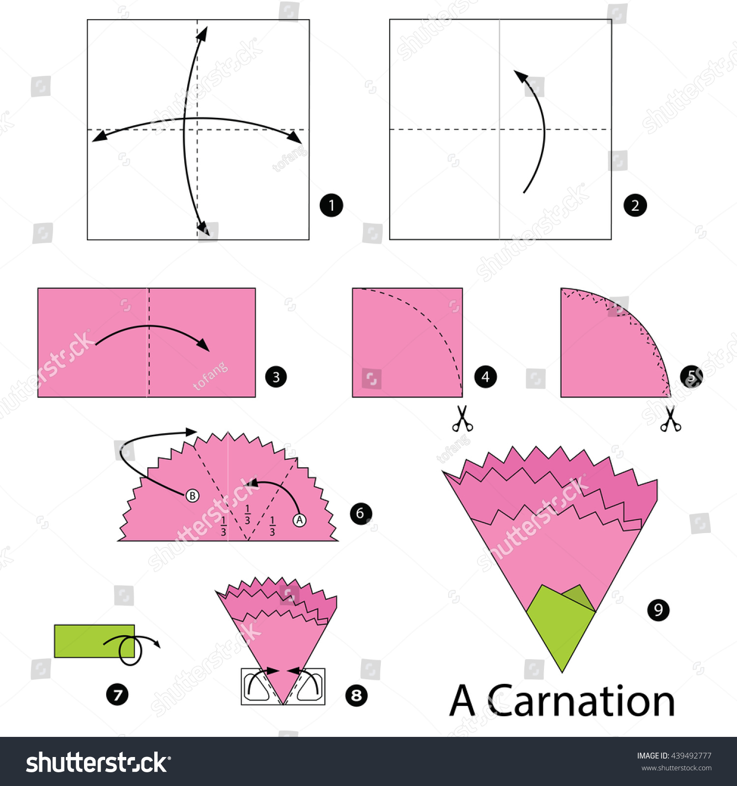 hight resolution of step by step instructions how make stock vector royalty free paper carnations origami carnation diagram