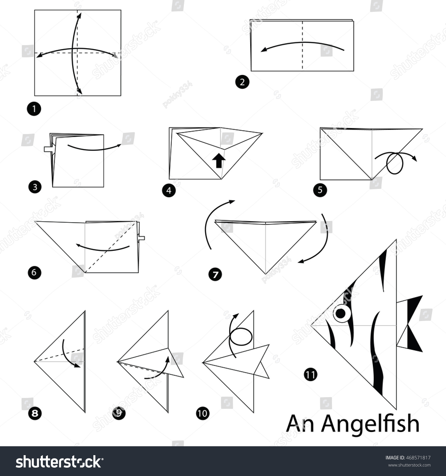 origami angel step by diagram 95 f150 ignition wiring instructions how make stock vector royalty free to an angelfish