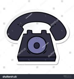 sticker of a cute cartoon old telephone [ 1500 x 1600 Pixel ]