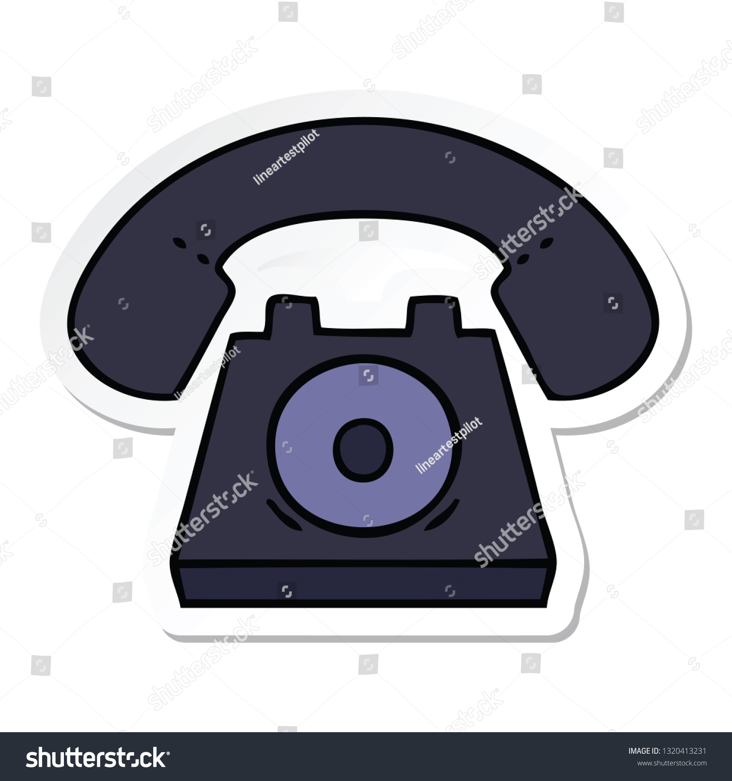 hight resolution of sticker of a cute cartoon old telephone
