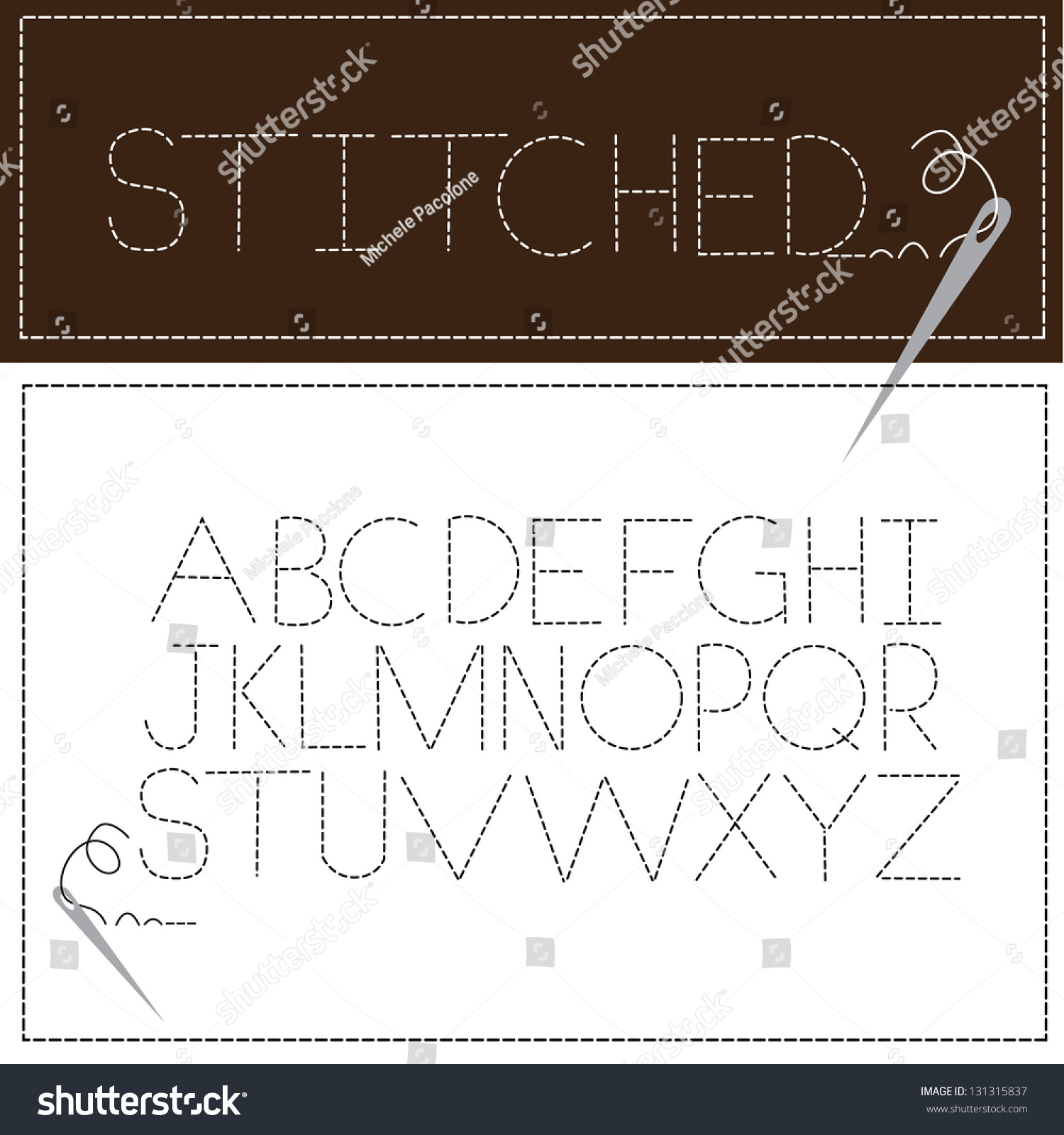 Stitched Font Alphabet Through Z Eps Stock Vector