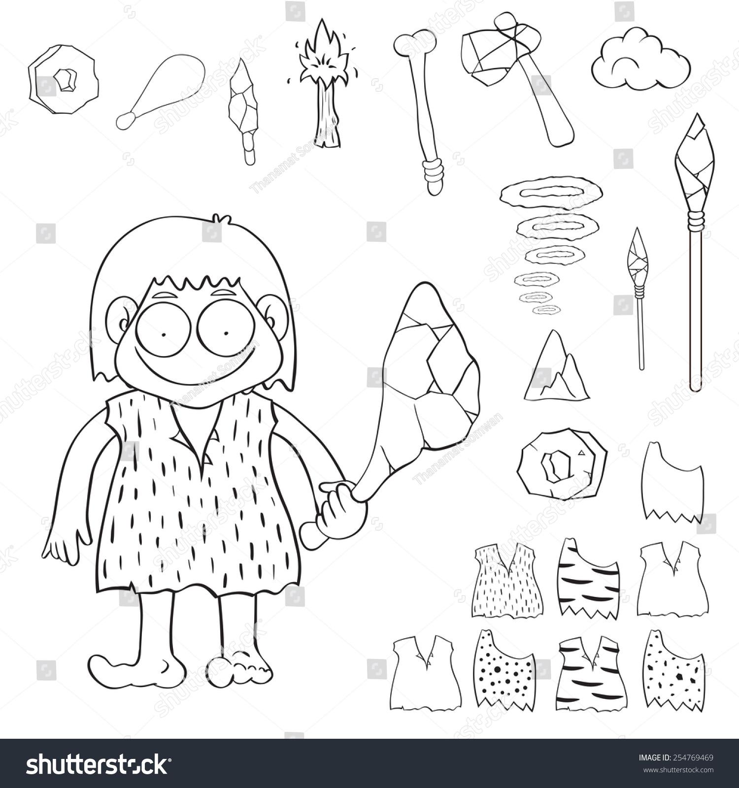 Stone Age People Cartoon Vector Illustration Stock Vector
