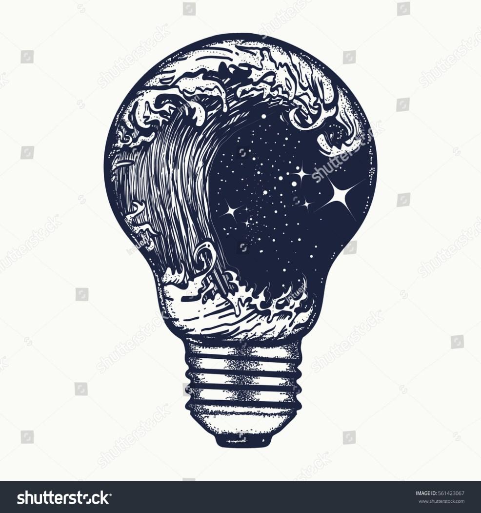 Storm Light Bulb Tattoo Symbol Adventures Stock Vector Royalty Free
