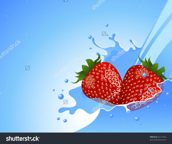 Strawberry In Water Splash Vector Illustration Eps