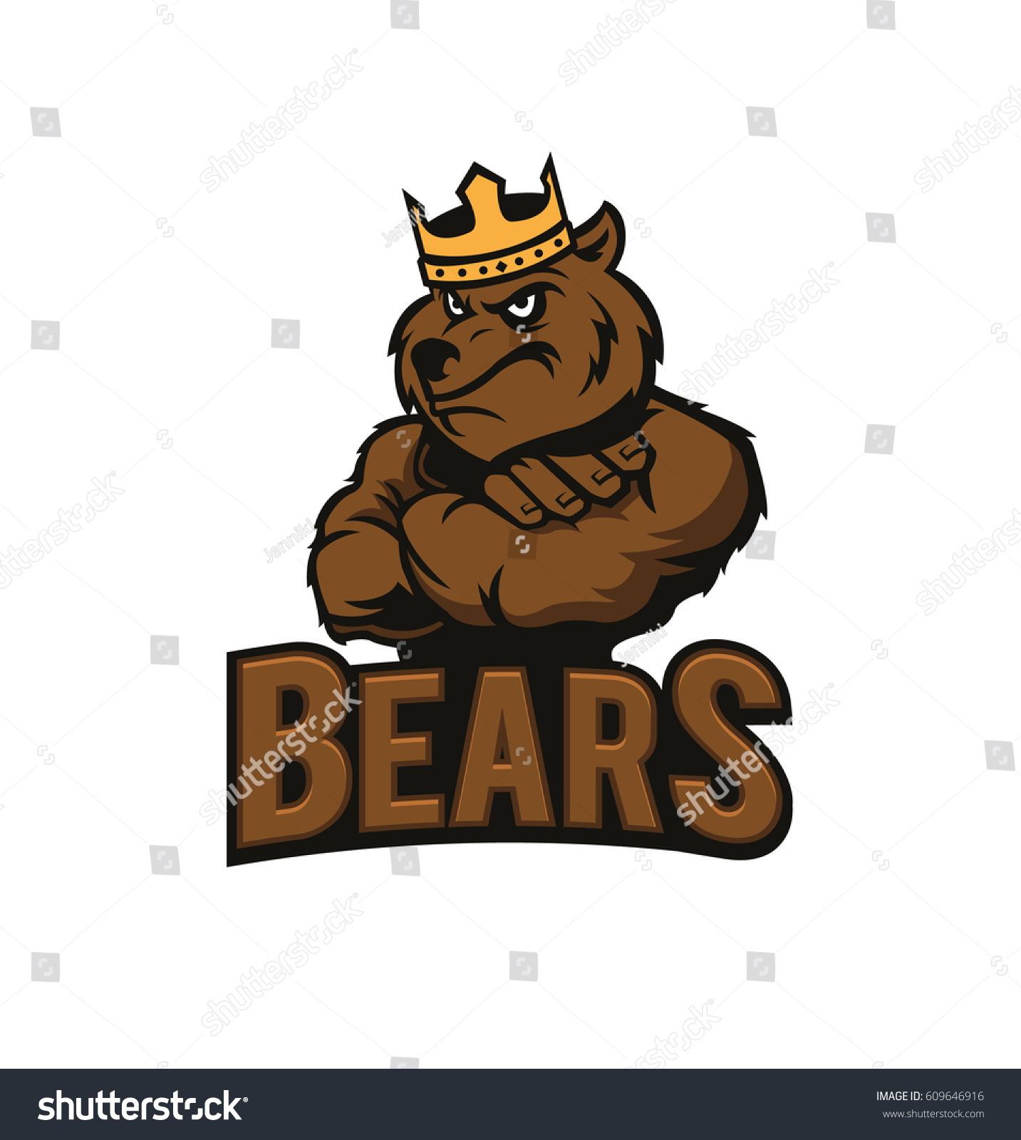 hight resolution of strong bear with crown bear mascot bear logo isolated on white background vector