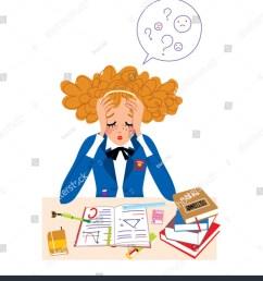student girl in stress doing hard homework vector illustration  [ 1368 x 1600 Pixel ]