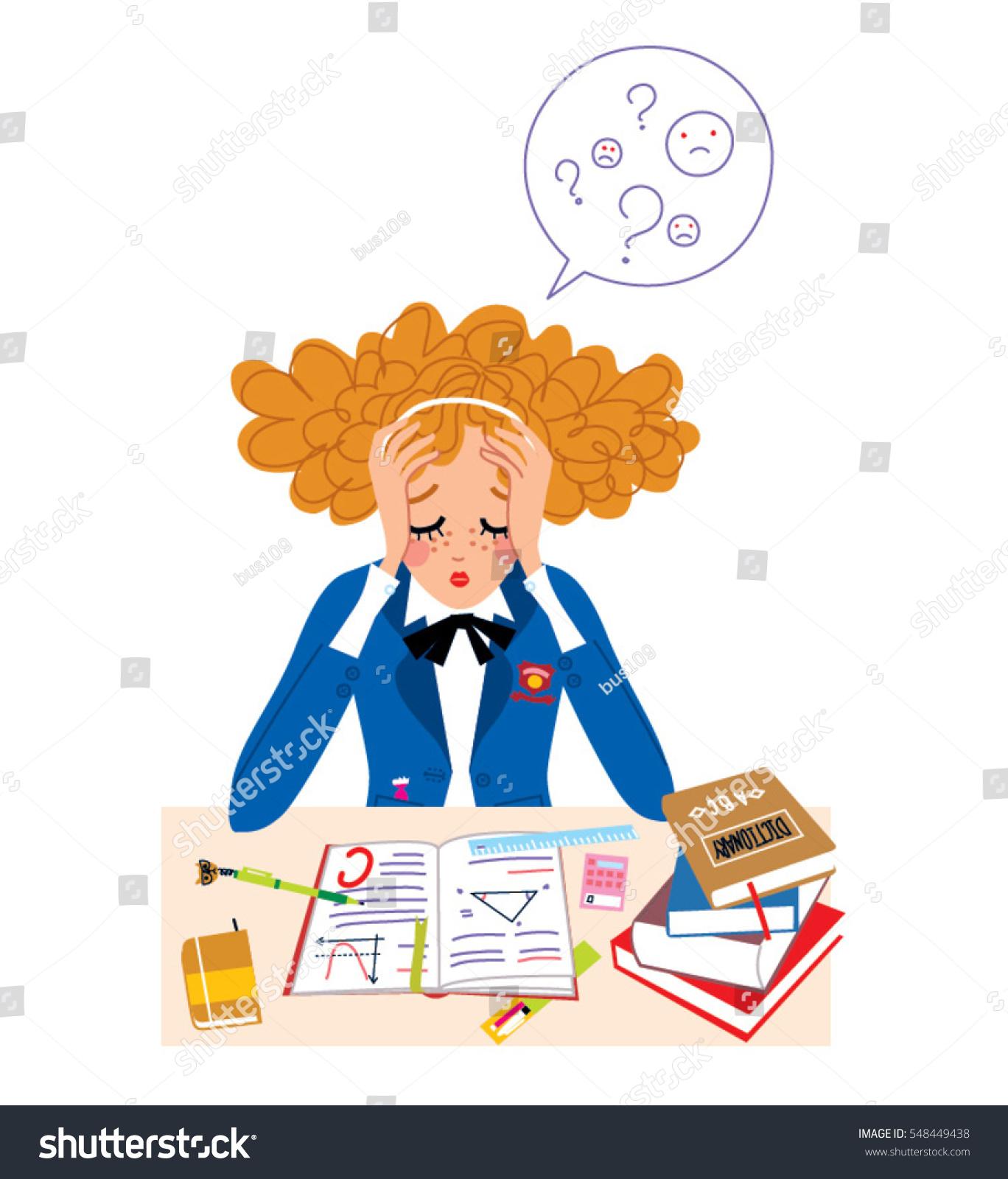 hight resolution of student girl in stress doing hard homework vector illustration