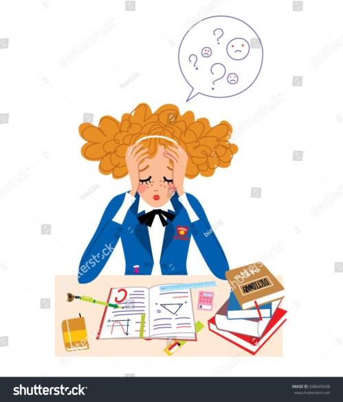 small resolution of student girl in stress doing hard homework vector illustration