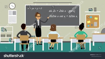 Students Female Teacher Classroom Interiorcartoon School Stock Vector Royalty Free 1029811711