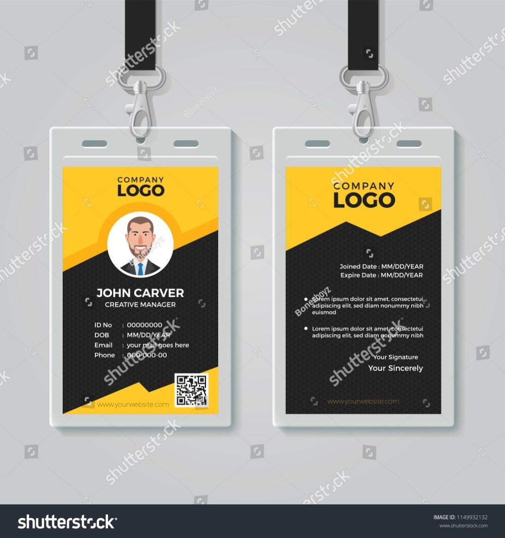 medium resolution of stylish yellow id card design template
