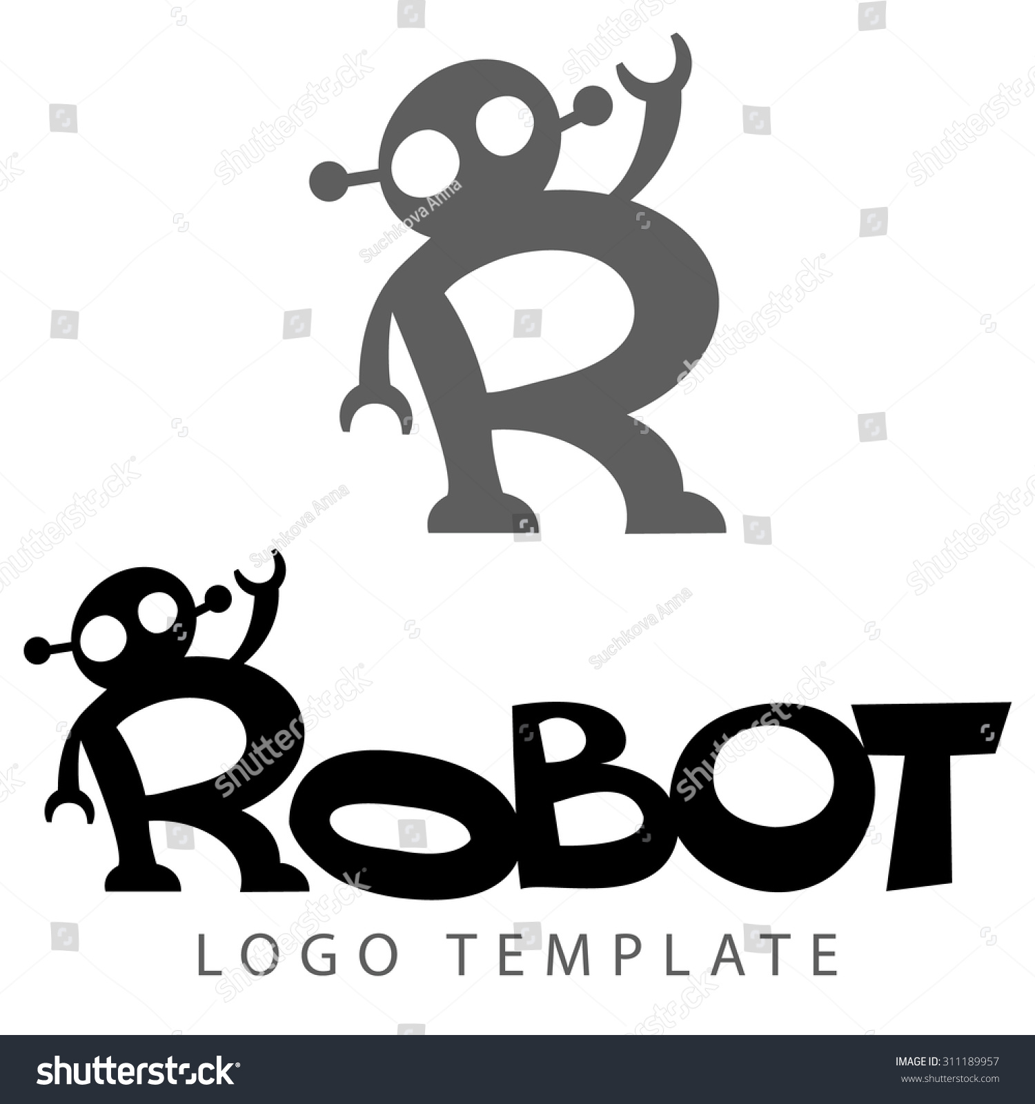 Stylized Lettering With Picture Of Robot Like Letter R