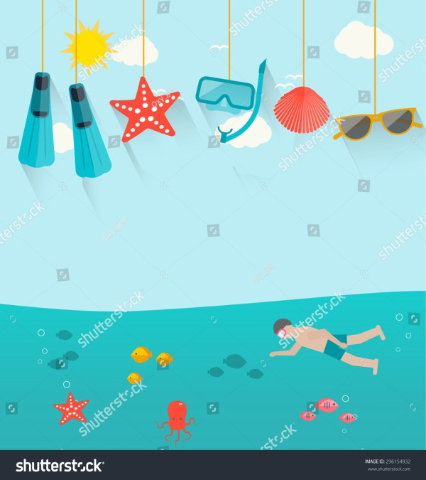 Summer Background With Swimming Human And Hanging