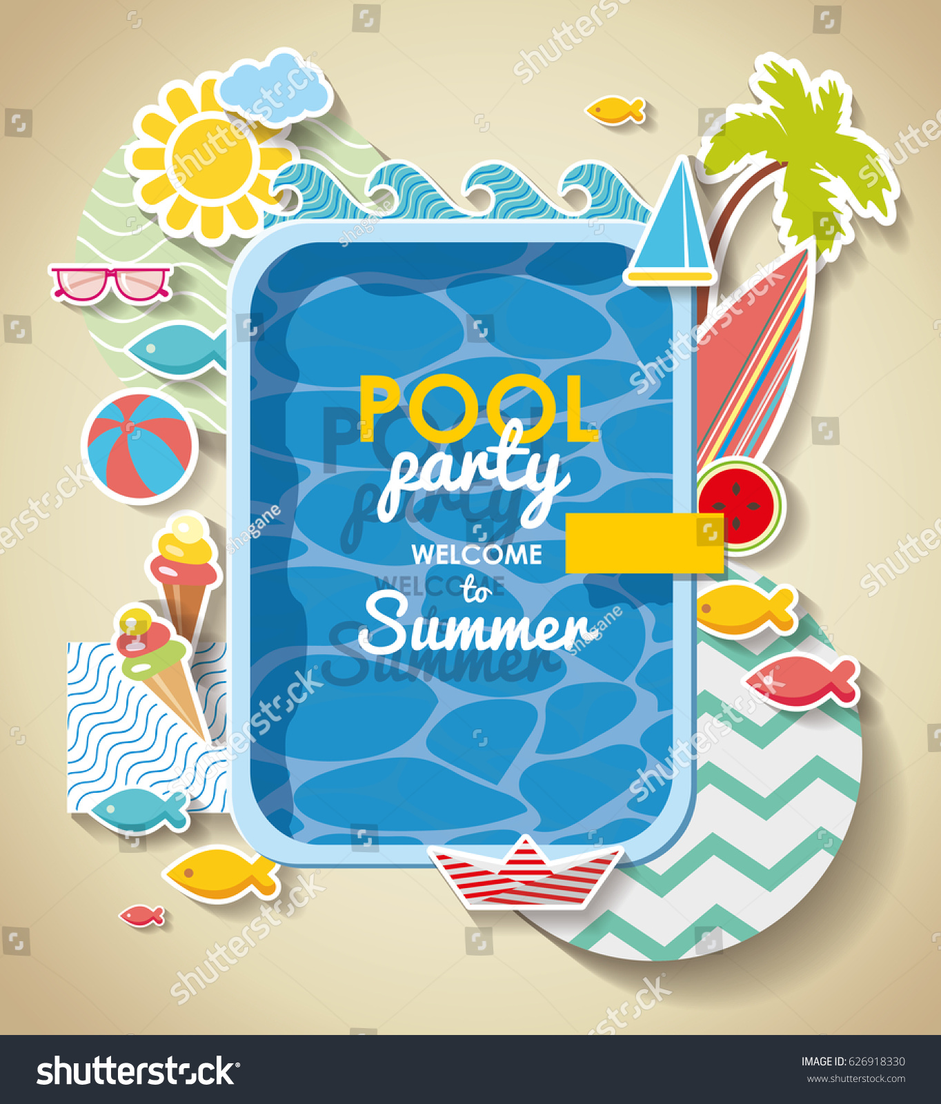 Summer Pool Party Invitation . Holidays Background