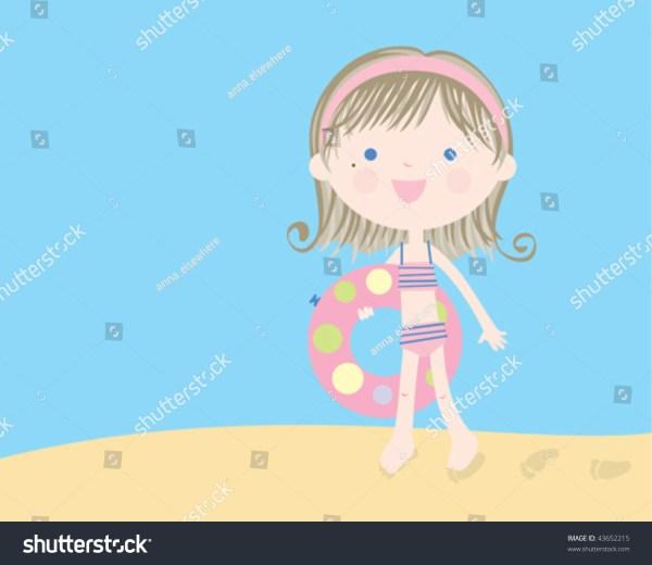 Summer Time. Vector Illustration Of Little Girl