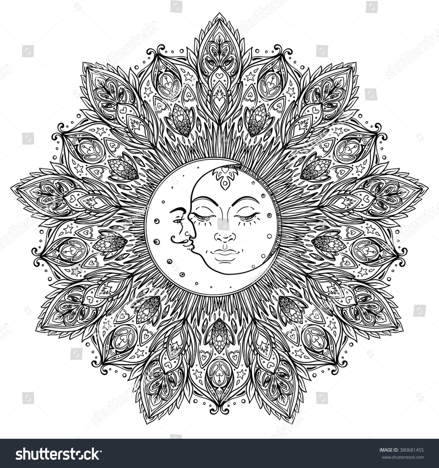 Adult Coloring Page Sun And Moon