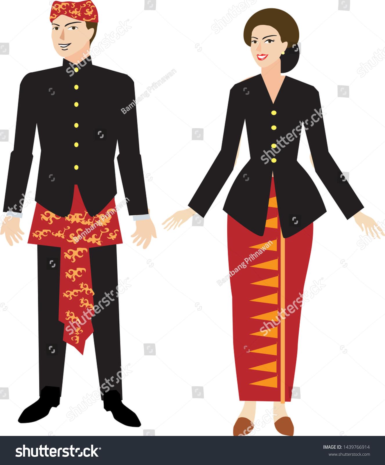 Pakaian Adat Vector : pakaian, vector, Sundanese, Dress, Pakaian, Daerah, Sunda, Stock, Vector, (Royalty, Free), 1439766914