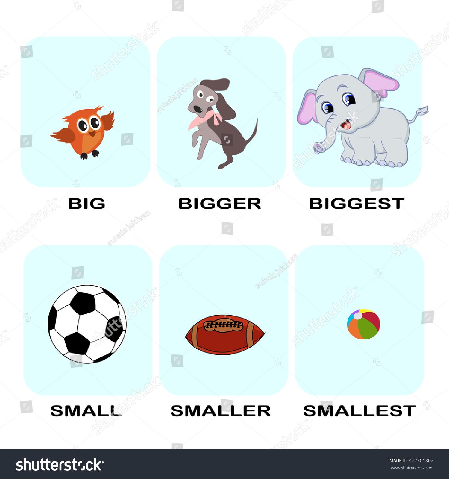 Superlative Word Cartoon Vector Set Text Stock Vector