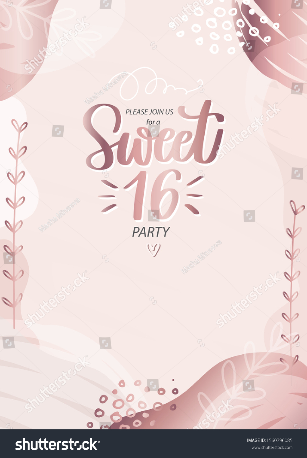 https www shutterstock com image vector sweet sixteen party invitation 16th birthday 1560796085