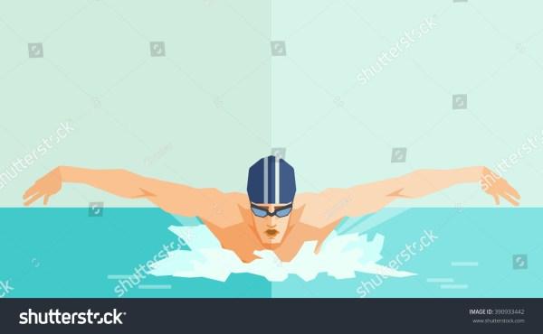 Swimmer Vector Illustration Swimming Man Stock