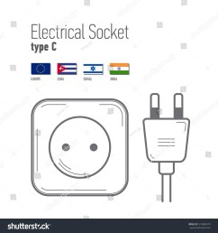 stock vector switches and sockets set type c ac power sockets icons thin line style flat design different 514869310 jpg [ 1500 x 1600 Pixel ]